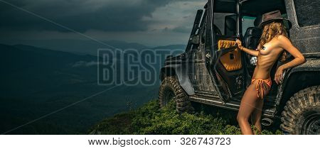 Water Splash In Off-road Racing. Travel And Racing Concept For 4x4 Drive Off Road Vehicle. Off-road