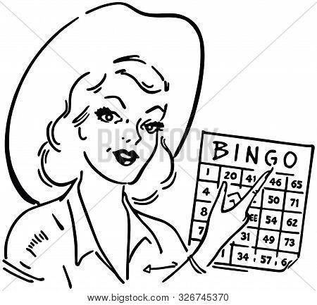 Bingo Gal - Retro Clipart Illustration Of Cowgirl
