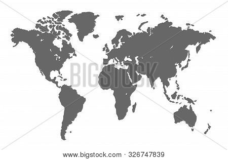 World Map On White Background. Grunge Illustration Of Gray Silhouettes World Map. Vector Illustratio