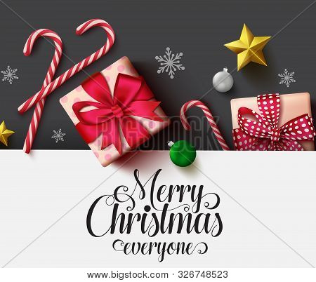 Christmas Vector Background Template. Merry Christmas Typography Text In White Empty Space For Text