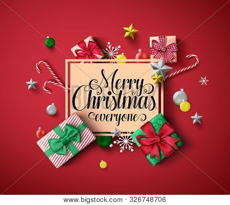 Chirstmas Greeting Vector Template. Merry Christmas Everyone Greeting Text In Orange Empty Frame Wit
