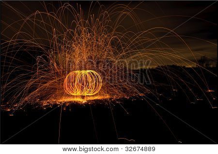 sparkling ball of fire Light painting