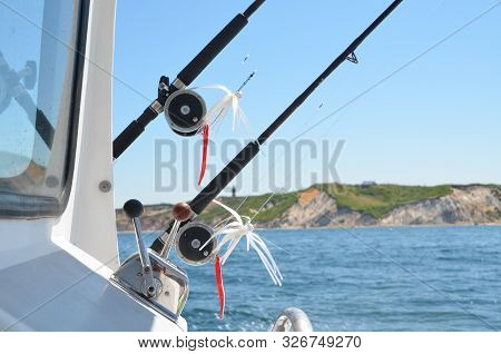 Fishing Poles, Reels And Lures On A Charter Fishing Boat.