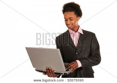Black business man with laptop isolated over white background