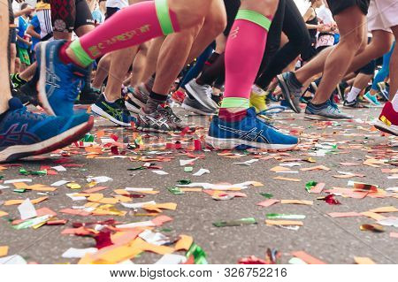 September 15, 2018 Minsk Belarus Half Marathon Minsk 2019 People Run A Half Marathon Confetti Lying