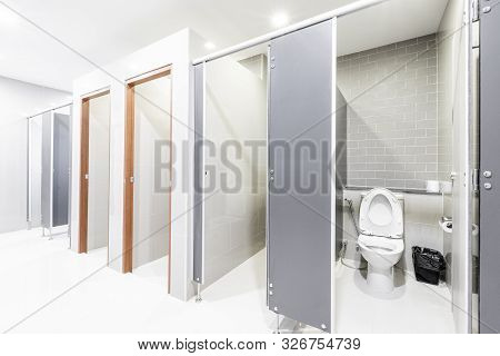 Public Interior Of Bathroom With Modern Bathroom Lined Up Modern Design.
