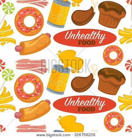 Unhealthy Processed Food Pattern With Delicious And Sweet High Calorie Snacks