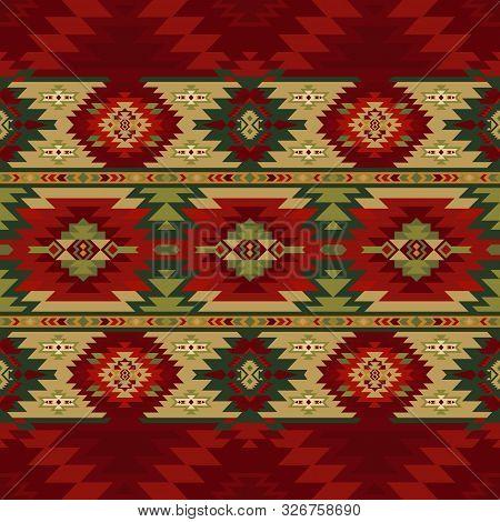 Aztec, Navajo Geometric Seamless Pattern. Native American Southwest Print. Tribal Kilim. Ethnic Desi