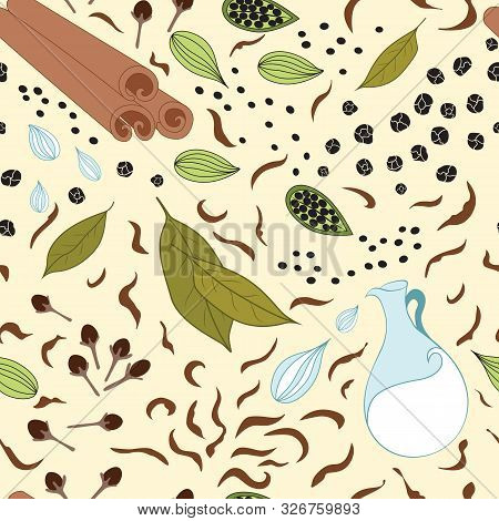 Seamless Vector Pattern With Different Kind Of Spices For Tea, Cardamom, Black Tea, Cinnamon, Cardam