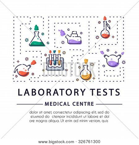 Banner, Flayer For Medical Centre With Outline Icons - Laboratory Flask, Test Tube For Diagnosis, Sc
