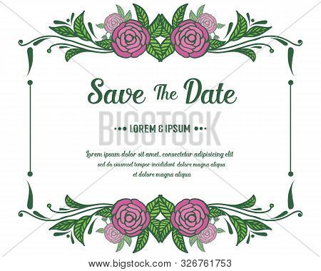 Poster Save The Date, With Art Of Vintage Pink Rose Flower Frame. Vector