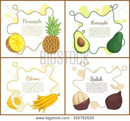 Pineapple And Avocado, Citron And Salak. Posters Set With Text And Tropical Fruits, Healthy Vegetari