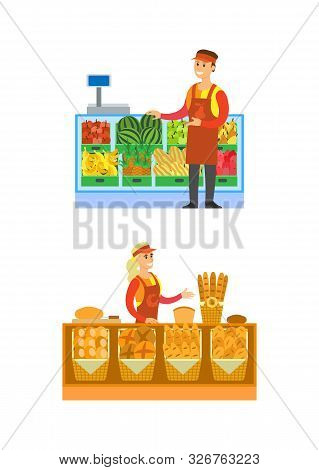 Supermarket Bakery And Fruits Department Vector. Salesperson With Baked Bread And Baguettes. Seller