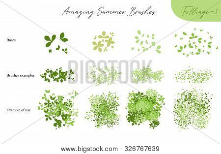 Set Of Summer Vector Foliage Ecology Brushes - Silhouettes Of Summer Leaves, Foliage Of Trees, Diffe