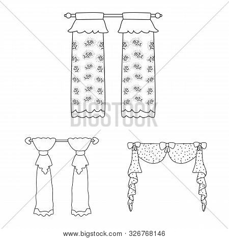 Isolated Object Of Fabric And Decoration Logo. Collection Of Fabric And Cornice Vector Icon For Stoc