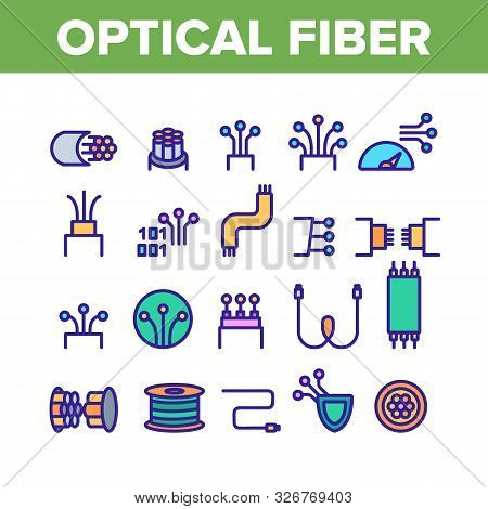 Optical Fiber Collection Elements Icons Set Vector Thin Line. Network Connection, Computer Wire, Cab