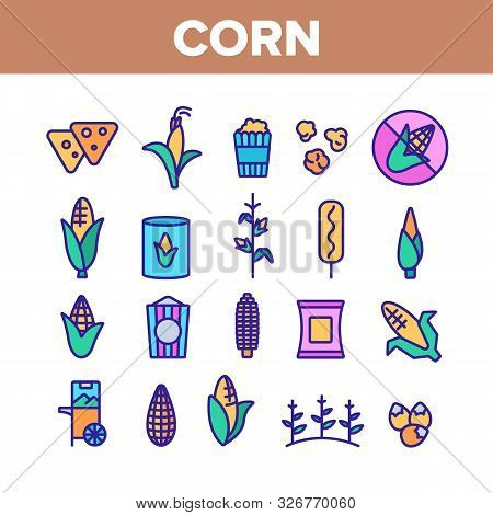 Corn Food Collection Elements Icons Set Vector Thin Line. Pop Corn And Corncob, Maize Grain And Pack