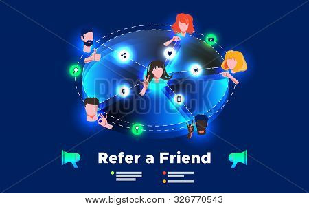 Referral Network Program Marketing Concept. Refer A Friend - Business Strategy. Faces Different Nati