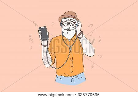 Vigorous Old Age, Young In Heart Elderly Person Concept. Old Hipster Listening To Music, Stylish Bea