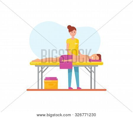 Massage Therapy Woman Masseuse Working With Pleasure Man Relaxing On Table Vector. Person With Towel