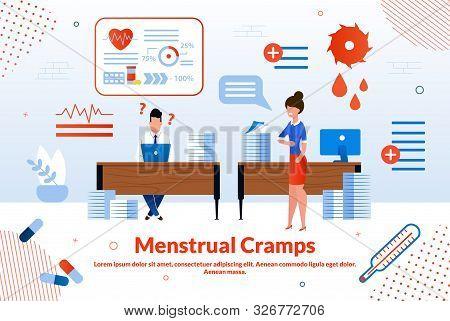 Menstrual Cramps, Woman Reproductive Health, Gynecological Disease Trendy Flat Vector Vector Banner,
