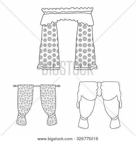 Vector Illustration Of Fabric And Decoration Logo. Collection Of Fabric And Cornice Vector Icon For
