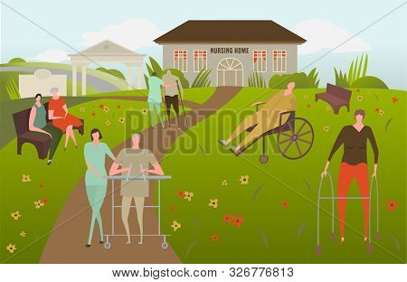 Nursing House With Resting Seniors And Assistants. Center For Retired, Sick People. Caregiving, Volu