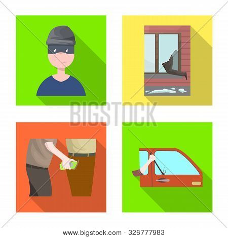 Isolated Object Of Crime And Steal Sign. Collection Of Crime And Villain Stock Vector Illustration.