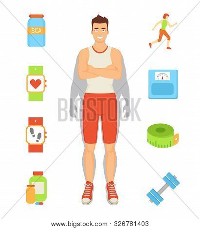Weight Loss Person And Isolated Icons Set Vector. Man With Bcaa, Pedometer And Pills, Dumbbells And