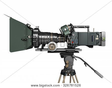 Proffesional Video Camera 3d Render On White