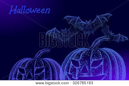 Halloween 3d Pumpkin Jack Bats Modern Concept. Geek Holiday Party Scary Flyer. Low Poly Geometric Po