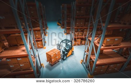 interior of a storage warehouse with shelves full of goods and forklifts in action. 3d image render.
