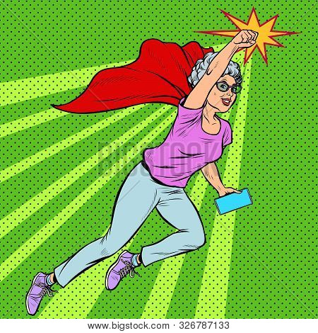 Woman Grandmother Superhero Flying Active Strong Pensioner Elderly Lady. Pop Art Retro Vector Illust