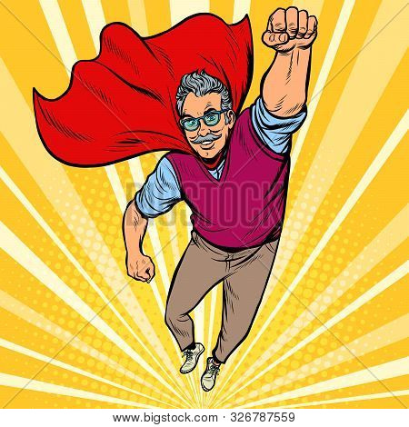 Man Retired Superhero. Health And Longevity Of Older People. Pop Art Retro Vector Illustration Drawi