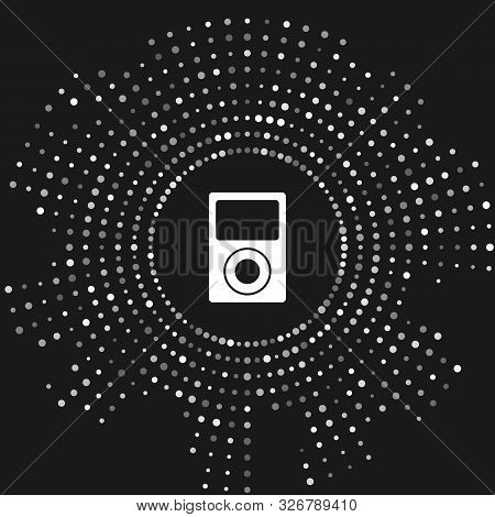 White Music Player Icon Isolated On Grey Background. Portable Music Device. Abstract Circle Random D