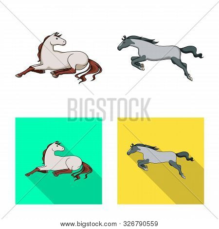 Vector Design Of Breed And Equestrian Sign. Set Of Breed And Mare Stock Symbol For Web.