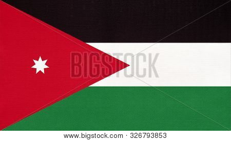 Jordan National Fabric Flag, Textile Background. Symbol Of International World Asian Arab Country. S