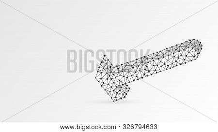 Hammer Smashing Floor. Abstract, Digital, Wireframe, Low Poly Mesh, Vector White Origami 3d Illustra