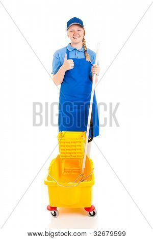 Teen worker with a mop and bucket, giving a thumbs up and smiling.  Full body isolated on white.