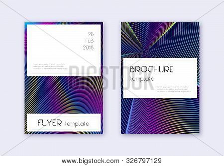Stylish cover design template set. Rainbow abstract lines on dark blue background. Fetching cover design. Resplendent catalog, poster, book template etc. poster