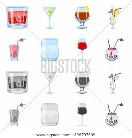 Isolated Object Of Liquor And Restaurant Sign. Collection Of Liquor And Ingredient Stock Vector Illu