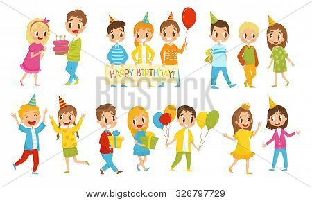 Small Kids Giving And Receiving Gifts For Birthday