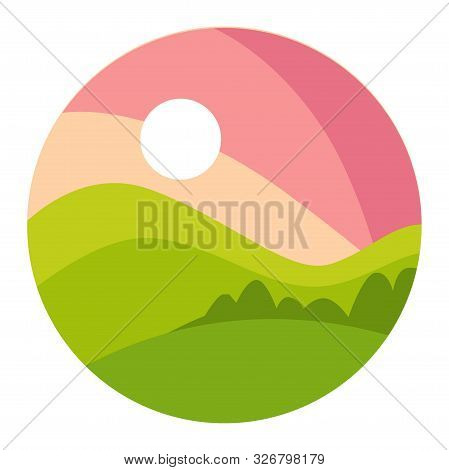 Landscape With Gradual Pink Sunset And Green Shaded Hills In A Circle Icon