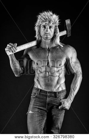 Brutality Is New Sexy. Lumberjack Woodman Sexy Naked Muscular Torso. Man Brutal Attractive Guy. Axe