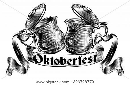 Oktoberfest Illustration Of A Traditional Beer Stein Or Tankards Chinking Together In A Prost Toast