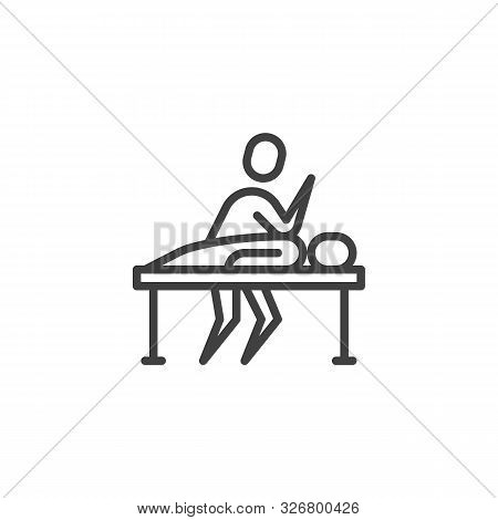 Massage Therapy Line Icon. Linear Style Sign For Mobile Concept And Web Design. Masseur Massages Pat