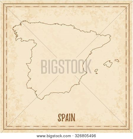 Pirate Map Of Spain. Blank Vector Map Of The Country. Vector Illustration.