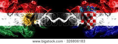 Kurdistan Vs Croatia, Croatian Smoke Flags Placed Side By Side. Thick Colored Silky Smoke Flags Of K