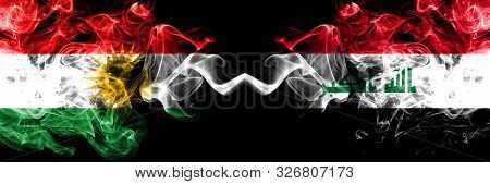 Kurdistan Vs Iraq, Iraqi Smoke Flags Placed Side By Side. Thick Colored Silky Smoke Flags Of Kurds A
