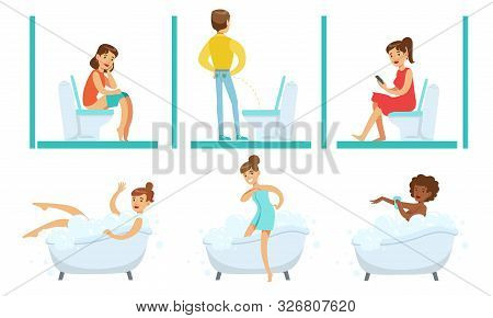 People In Bathroom Set, Young Men And Women Taking Bath In Bathtub And Using Toilet Bowls Vector Ill